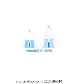 Pyramids of Meroe, Sudan Landmarks 2018, Pyramids of the Kushite rulers at Meroë, River Nile, Sudan.