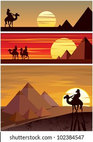 The Pyramids: Set of 3 cartoon landscapes with the Egyptian Pyramids. No transparency used. Basic (linear) gradients.