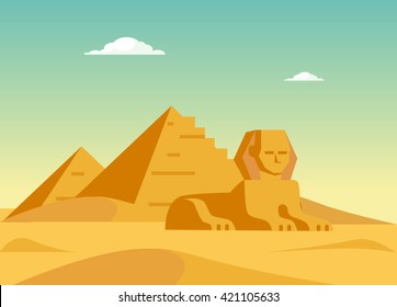 Pyramids And Sphinx Flat Bright Color Simplified Vector Illustration In Realistic Cartoon Style Design