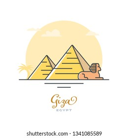 Pyramids and Sphinx at Giza, Egypt, flat vector illustration. Tourism and travel icon.