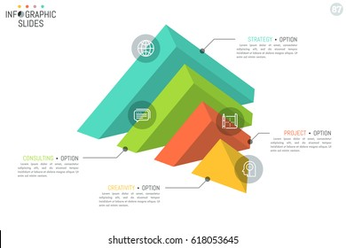 Pyramid-shaped diagram divided into 4 pieces, thin line pictograms and text boxes. Minimal infographic design template. Vector illustration for website, banner, presentation, report, brochure.
