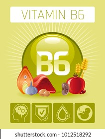 Pyridoxine Vitamin B6 rich food icons. Healthy eating flat icon set, text letter logo, isolated background. Diet Infographic diagram poster, haricot, walnut. Vector illustration, human health benefits