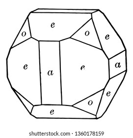 The pyritohedron, cube and octahedron sample. There rectangular, strangle, octahedron, vintage line drawing or engraving illustration.