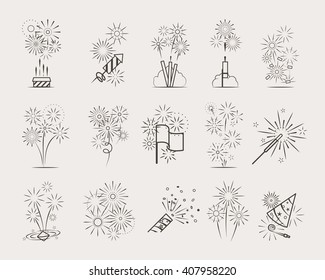 Pyrotechnic line icons. Fireworks and celebration thin line signs vector