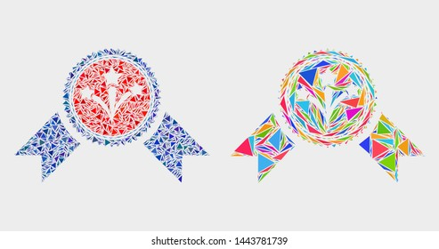 Pyrotechnics award seal collage icon of triangle items which have different sizes and shapes and colors. Geometric abstract vector illustration of pyrotechnics award seal.
