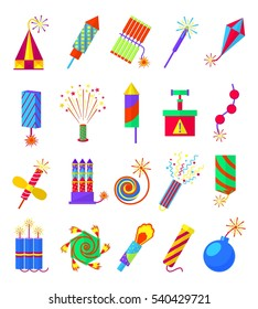 Pyrotechnics burning firework colored icons. Festival firecrackers and sparklers, crackers and petards isolated on white background. Skyrocket exploding, vector illustration
