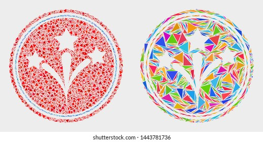 Pyrotechnics seal stamp collage icon of triangle items which have various sizes and shapes and colors. Geometric abstract vector illustration of pyrotechnics seal stamp.