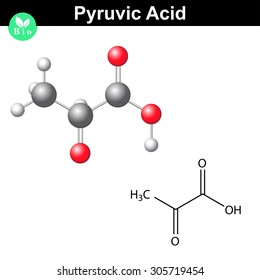 Pyruvic acid molecule, pyruvate, structural chemical formula and model, 2d and 3d vector, isolated on white background, eps 8
