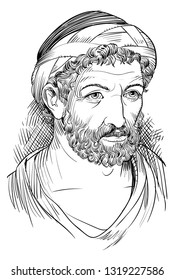 Pythagoras (570-495 BC) portrait in line art illustration. He was a Greek mathematician, philosopher and religious leader.