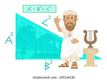 Pythagoras - Cute cartoon of Pythagoras pointing at his formula and a big right angled triangle with Greece landscape in the background. Eps10