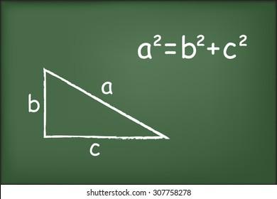 Pythagoras' theorem on chalkboard vector