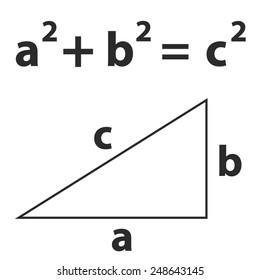 Pythagoras theorem vector; school theorem vector; mathematics theorem vector; pythagorean theorem;