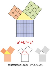 Pythagorean Theorem - In mathematics, the Pythagorean Theorem is a relation in Euclidean geometry among the three sides of a right triangle. Vector illustration on white background.