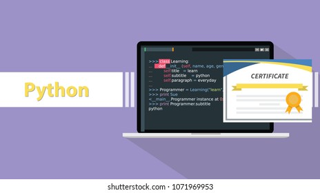 python programming language certificate certifications on paper with laptop