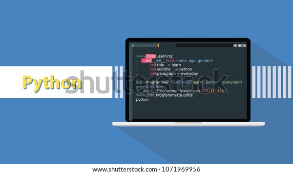 Python Programming Language Example Code On Stock Vector