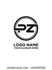 PZ initial circle logo template vector