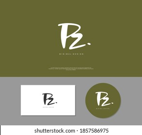 PZ Initial handwriting or handwritten logo for identity. Logo with signature and hand drawn style.