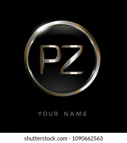 PZ initial letters with circle elegant logo golden silver black background