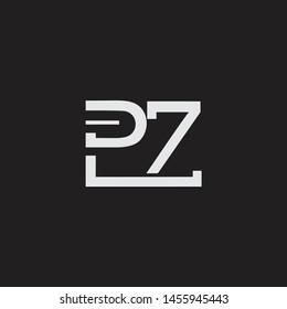 PZ initial logo Capital Letters black background