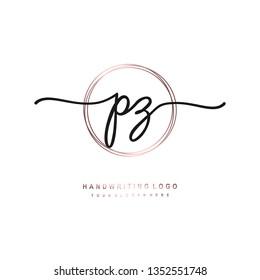 PZ initial signature logo. handwriting logo template vector,