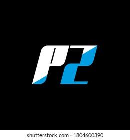 PZ letter logo design on black background. PZ creative initials letter logo concept. PZ icon design. PZ white and blue letter icon design on black background. P Z