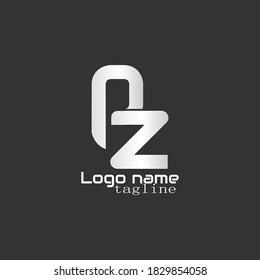 """PZ logo. Illustration of """"PZ"""" typeface logo isolated on black background. vector AZ"""