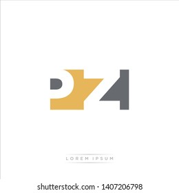 PZ Logo Letter with Modern Negative space - Brown and Grey Color EPS 10