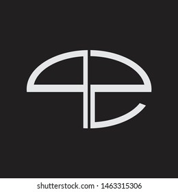PZ Logo letter oval monogram design template with black and white colors