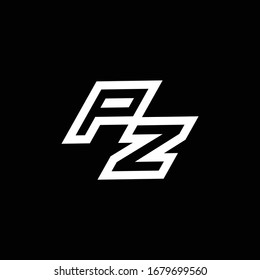PZ logo monogram with up to down style negative space design template isolated on black background