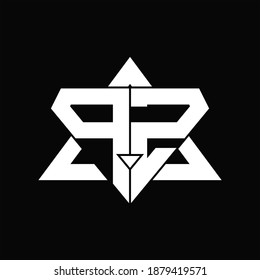 PZ Logo monogram isolated with triangle shape design template on black background