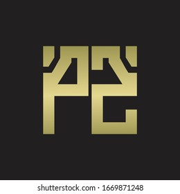 PZ Logo with squere shape design template with gold colors