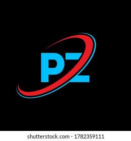 PZ P Z letter logo design. Initial letter PZ linked circle uppercase monogram logo red and blue. PZ logo, P Z design. pz, p z