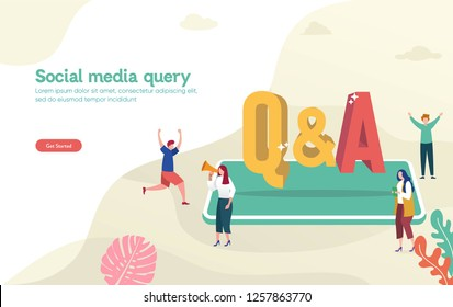 Q & A, QNA vector ilustration concept, people asking to online support center via smartphone and laptop, can use for, landing page, template, ui, web, mobile app, poster, banner, flyer