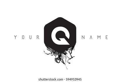 Q Black Ink Letter Logo Design with Rounded Hexagon Vector.