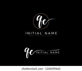 Q C Initial handwriting logo vector. Hand lettering for designs.