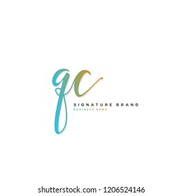 Q C QC Initial letter handwriting and  signature logo concept design