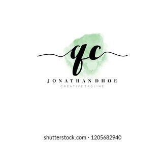 Q C QC Initial watercolor logo on white background. Logo template vector