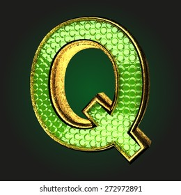 q green letter with gold