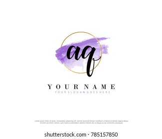 A Q Initial water color logo template vector