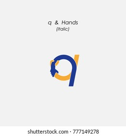 q - Letter abstract icon, hands logo design vector template.Business offer,partnership symbol.Hope,help concept.Support,teamwork sign.Corporate business,education logotype symbol.Vector illustration
