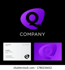 Q letter. Beautiful letter Q into rounded violet shape. Abstract logo, isolated on different backgrounds. Logo can be used for web, digital, business or sports.