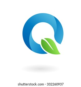 Q letter business logo design template. Abstract vector elements for corporate identity emblem, label or icon of eco friendly company