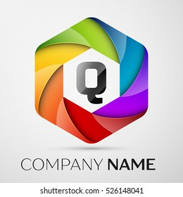 Q Letter colorful logo in the hexagonal on grey background. Vector template for your design