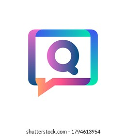 Q letter colorful on rectangle chat icon logo.Q chat logo minimalist template using modern and gradient style.Q letter logo.Q letter chat logo
