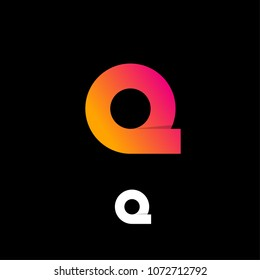 Q letter emblem. Q logo. Pink and yellow gradient letter Q on a black background.