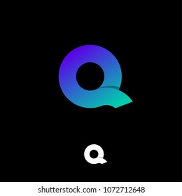 Q letter emblem. Q logo. Violet and green gradient letter Q on a black background.