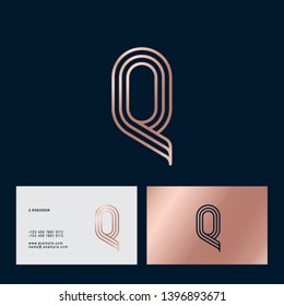 Q letter. Gold Q monogram consist of thin lines isolated on a dark background. Business card. Web, UI icon. Identity.