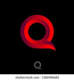 Q letter logo. Beautiful voluminous letter Q as ribbon on a dark background.