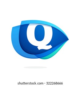 Q letter logo with blue wing or eye. Abstract trendy letter multicolored vector design template elements for your application or corporate identity.