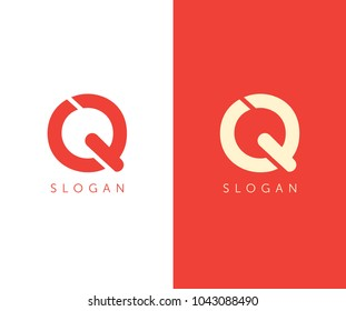 Q letter logo cut design template